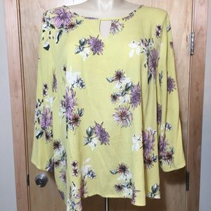 Papermoon Yellow Floral Top Tunic, 100% Rayon, 3X